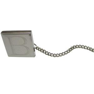 Letter B Etched Monogram Pendant Tie Tack